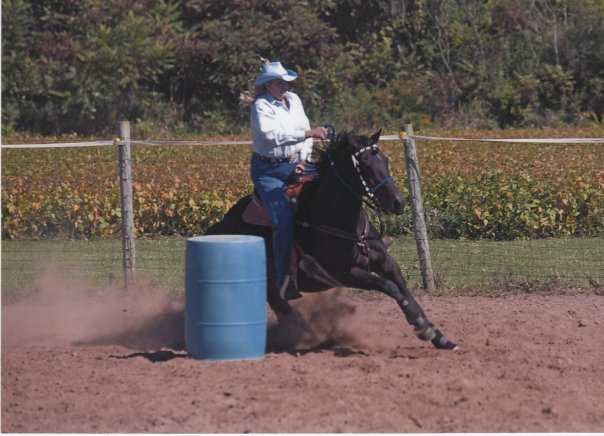 Deb LaJoie barrel racing